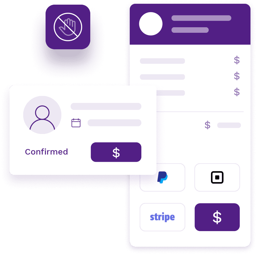 Appointment confirmation page with appointment details and pre-payment page with contactless payment options with Square, Stripe and Paypal