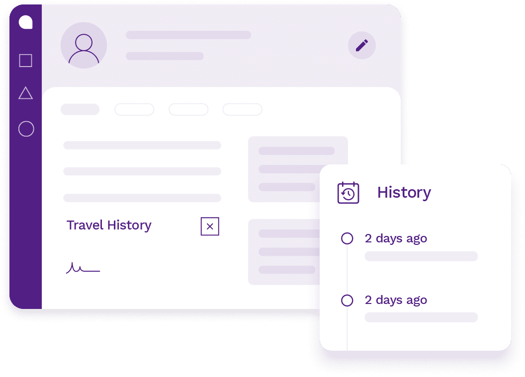 Customer profile showing customer's personal details, appointment history, travel history and more