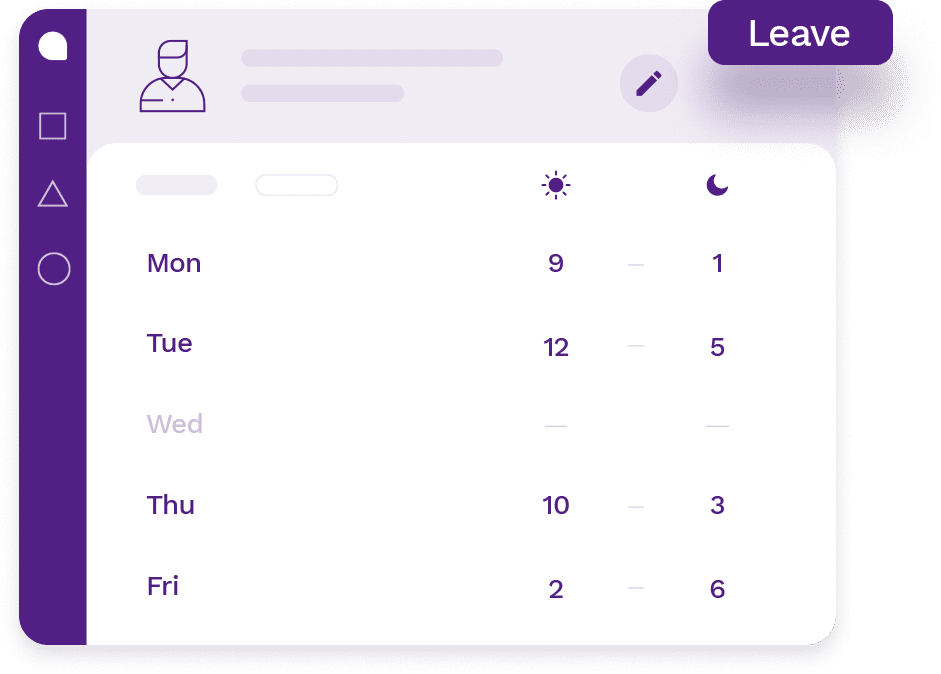 Employee's personal profile page with employee's real-time schedule and a leave button to manage availability