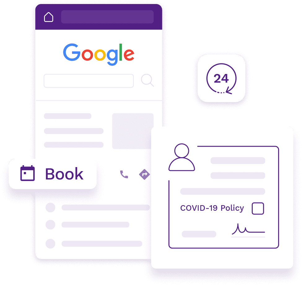 "Google My Business listing with a 24*7 ""Book"" Button and Covid-19 waiver form for customers."
